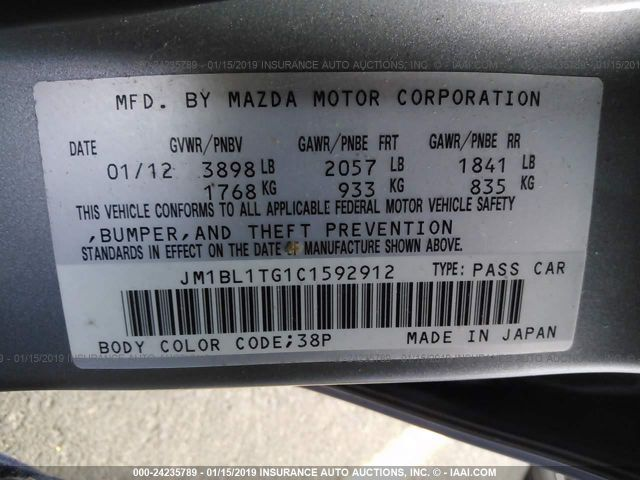 Salvage Title 2012 Mazda 3 2 0L For Sale in Vancouver WA